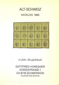 Honegger: Sale # Net Price  -  Alt Schweiz Katalog 1986, ...