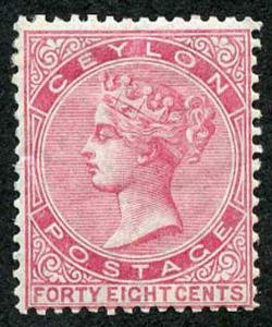 Ceylon SG130 48c Rose Wmk Crown CC Perf 14 Mint (hinge remainder)
