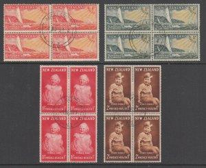 New Zealand Sc B38-B41 used blocks of 4. 1951-52 Semi-Postals, 2 complete sets
