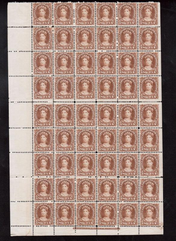 Prince Edward Island #10ii #10 Very Fine Mint Sheet Of 54 With Three Wide Gutter