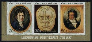 St Thomas & Principe 617 MNH Beethoven, Charles & Diana Wedding, Gold o/p