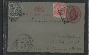 CAPE OF GOOD HOPE COVER (PP2707B)  QV 1D PS LETER CARD +1/2D+2D TO GERMANY