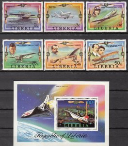 Liberia, Sc 794-800, MNH, 1978, Space Shuttle