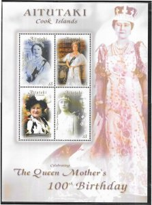 Aitutaki -Cook Islands #529 Queen Mothers 100th Birthday Sheet (MNH) CV $11.00