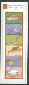 PK103 PALAU TROPICAL MARINE FISHES OF THE ATLANTIC OCEAN 1KB MNH STAMPS