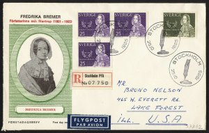 wc058 Sweden Fredrika Bremer Oct. 25, 1965 FDC first day cover registered to USA