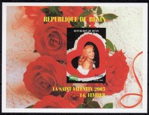Benin 2003 St.Valentine's Day-Marilyn Monroe-Roses S/S IMPERFORATED  MNH VF