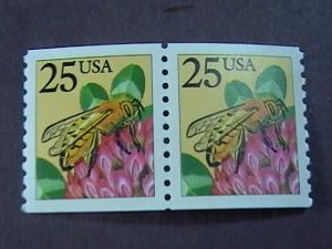 U.S.# 2281f-MINT/NEVER HINGED- COIL PAIR--HONEY BEE----1988