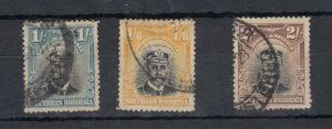 Southern Rhodesia 1924 1/- 1s 6d 2/- Admirals SG10/11/12 Fine Used J9629