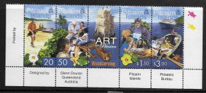 PITCAIRN ISLANDS, 547, MNH, STRIP OF 4 + LABEL , WOODCARVING