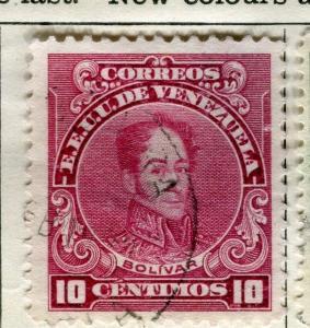 VENEZUELA;  1922 early Bolivar issue fine used 10c. value