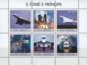 SAO TOME E PRINCIPE 2003 SHEET SPACE LAUNCH CONCORDE AVIATION AVIONS st3125