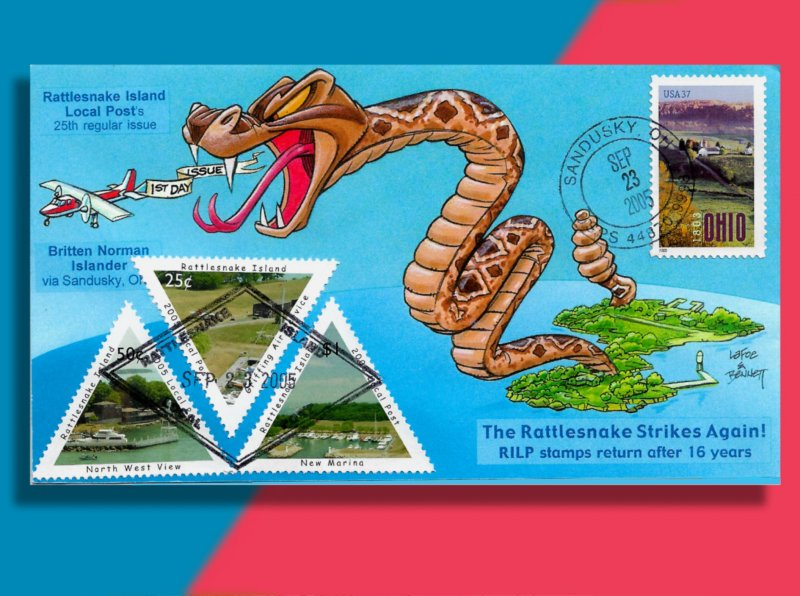 Giant Viper Uncoils from Rattlesnake Island on Colorful Local Post FDC from 2005