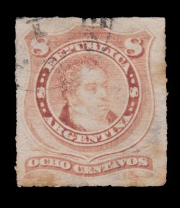 ARGENTINA STAMP 1880. SCOTT # 39. USED