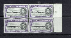 ASCENSION ISLAND - 1938 - 1/2p KING GEORGE VI - BLOCK OF 4 - SCOTT 40 - MNH