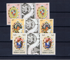 SIERRA LEONE 1981 ROYAL WEDDING GUTTER PAIRS
