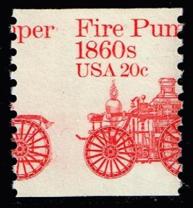 US STAMP BOB #1908 – 1981 20c Fire Pumper 1860's Coil MNH MISPERF ERROR