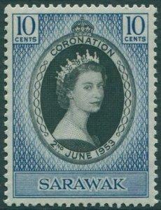 Malaysia Sarawak 1953 SG187 10c black and blue Coronation QEII MNH