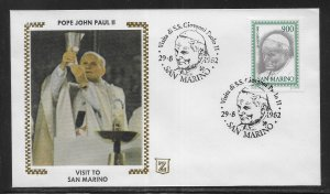 San Marino 1034 Pope John Paul II 1982 Visit FDC First Day Cover