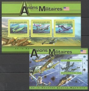BC190 2011 GUINEA MILITARY AVIATION AVIONS DURING WWII USA 1KB+1BL MNH