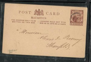 MAURITIUS COVER (P0506B) 1902 2C ARMS PSC SENT WITH MSG