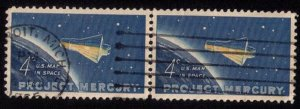 US Scott #1193 Project Mercury Airmail Used Vert. Pair F-VF