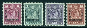 ST LUCIA King George VI 1951 New Constitution Overprnt Set SG 167 to SG 170 MINT