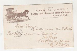 VICTORIA, 1899 Postal Card, Charles Boles, Horse & Carriage, 1d. 156, Mansfield