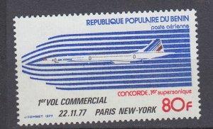 J29762, 1977 concord 1st flight benin set of 1 mnh #c274 airplane