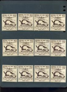 12 VINTAGE 1938 NATIONAL AIR MAIL WEEK POSTER STAMPS (L452) WISCONSIN BEAVERS!!!
