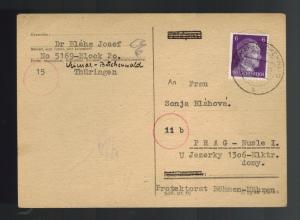 1944 Germany Buchenwald Concentration Camp Postcard Cover to BM Josef Blaha KZ
