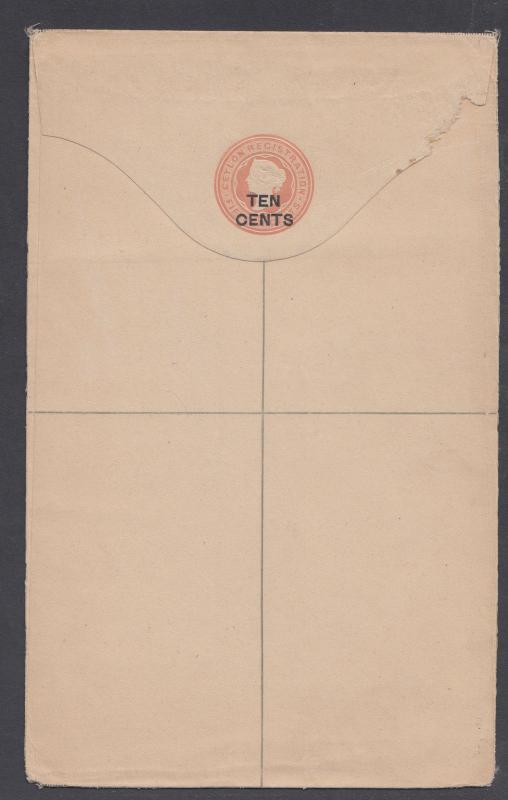 Ceylon H&G C10e, mint. 1893 10c surcharge on 15c pink QV Registration Envelope