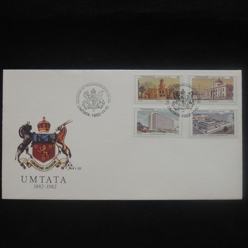 ZS-P195 TRANSKEI - Fdc, 100Th Anniv Municipality Of Umtata, Building 1982 Cover
