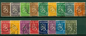 Finland 1930/2 Lion definitives with new design 5p to 3m 1st issue (1 VFU Stamps
