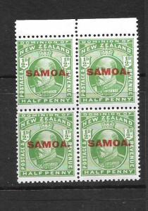SAMOA  1914  1/2d  KEVII  MNH  BLK 4 ERROR Y UNDER PENNY    SG 115