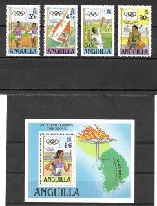 Anguilla 1988 Seoul Summer Olympics complete set w/ S/S, Scott 759 -763 MNH