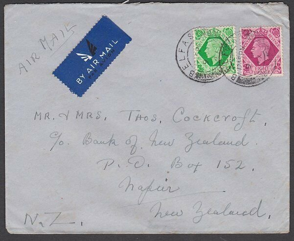 GB 1947 1/3d rate airmail cover Belfast to New Zealand......................L375
