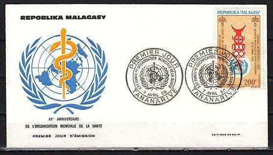 Malagasy Rep., Scott cat. C88. W.H.O. issue on a First day cover.