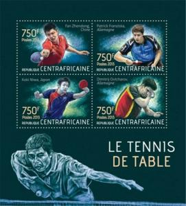 Central Africa - 2013 Table Tennis on Stamps - 4 Stamp Sheet - 3H-549