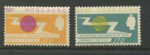Hong Kong - Scott 221 - 222 - QEII - ITU Issue-1965 -MNH - Set of 2 Stamps