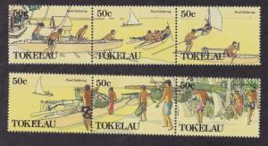 Tokelau #163-164, Food Gathering, NH, Half Cat.