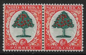 SOUTH AFRICA SG61 1937 6d GREEN & VERMILION MTD MINT