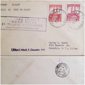 O) 1941 BELGIAN CONGO,  COLONY, KING ALBERT MEMORIAL LEOPOLDVILLE, FIRST FLIGHT