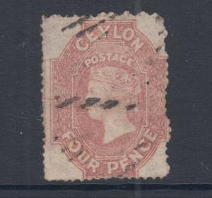 Ceylon SG 30, Sc 27, used. 1861 4p rose red QV, rough perf 15½, sound