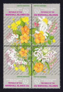 Marshall Is. Flowers Peace Year Block of 4 SG#94-97 SC#131a