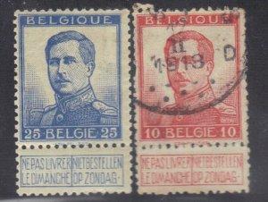 BELGIUM SC# 103+105 **USED** 10,25fr  1912-13   SEE SCAN