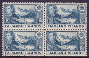 FALKLAND ISLANDS — SCOTT 91 — 1938 1/- KGVI PICTORIAL — BLOCK/4 — MNH — SCV $154