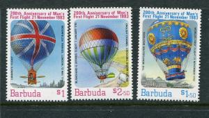 Barbuda MNH 578-80 1st Manned Balloon Flight 1983