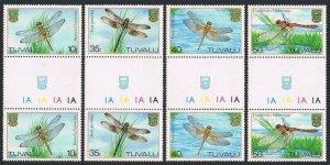 Tuvalu 200-203 gutter pairs,MNH.Michel 190-193. Dragonflies 1983.