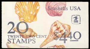 US #2121a 22c Shells  COMPLETE BOOK, VF mint never hinged,  BK146,  SUPER NICE!